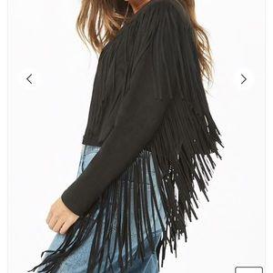 Forever 21 Jackets & Coats - Faux Suede Fringe Cropped Jacket Coachella